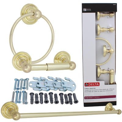 Delta 3pc polished brass greenwich bath accessory kit for Bathroom accessories kit