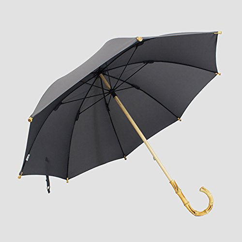 - Vintage Bamboo Long Umbrella Rain Sunny Double Use Wood Handle Dualbrella Stick Umbrella Man Women (Color : Gray)