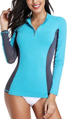 HOPLYNN Women's UV Sun Protection Long Sleeve Rash Guard Swimsuit Top UPF 50+-Green-XS