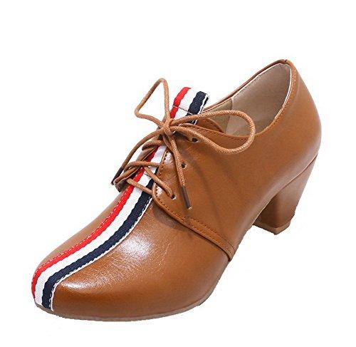 Talon Agoolar Correct Chaussures Brun Matière Légeres Lacet Femme À Souple  Rond AqqOwHSnE 34c0dd79248