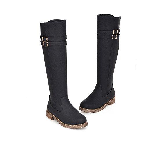 AgooLar Damen Rein Rund Zehe Blend-Materialien Stiefel Schwarz-Wasserdicht Plattform