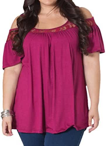PinupArt Women's Off the Shoulder Classic Pull-On plus Size Lace Knit Top