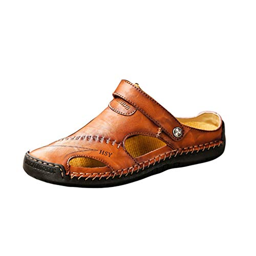 Hivot Mens Sandals Leather Sandals Beach Shoes Breathable Athletic Outdoor Dual Use Slippers Red