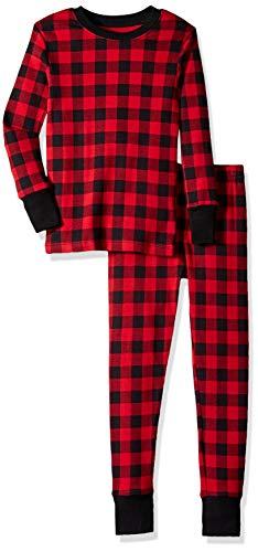 Young Boys Pajamas - Amazon Essentials Kids 2-Piece Pajama Set, Buffalo Check, L