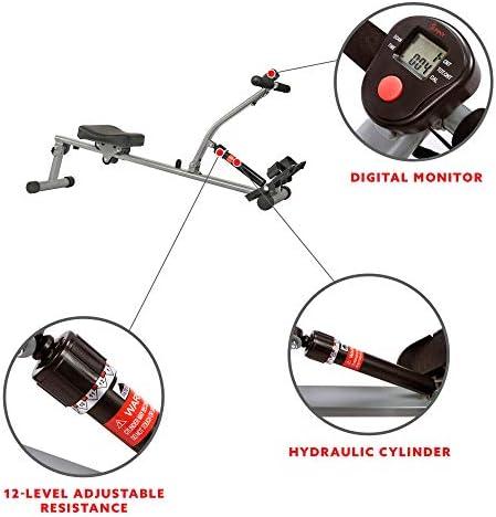 Sunny Health & Fitness SF-RW1205 12 Adjustable Resistance Rowing Machine Rower w/Digital Monitor 5