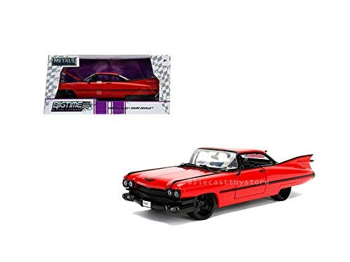 Jada 1: 24 W/B - Metals - Bigtime Kustoms - 1959 Cadillac Coupe Deville (Red) Diecast Vehicles