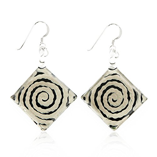 Sterling Silver Hand Painted Murano Glass Black White Circle Swirl Square Dangle Hook Earrings 2