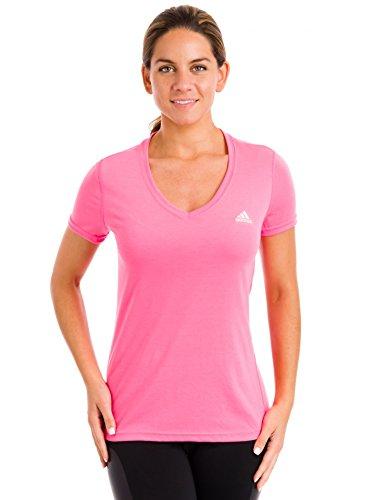 adidas Sport Performance Ultimate V-Neck Tee Shirt, Solar Pink, Medium - Tee V-neck Ultimate