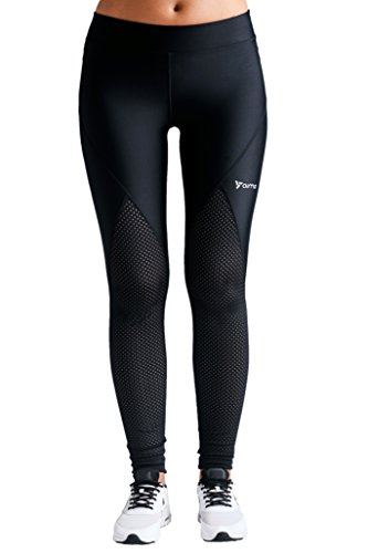 Leggings Yoga Fitness Running Athletic Pants (x-Small, Black With Perforated Panels In Front) (Perforated Mesh Pants)