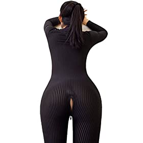 - 411DBMhDTuL - Opaque Front Zip Vertical Stripes Spandex