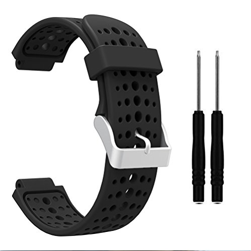 HWHMH 1PC Replacement Silicone Bands With 2PCS Pin Removal Tools For Garmin Forerunner 220/230/235/620/630 (No Tracker, Replacement Bands Only) (Pure color: Black)