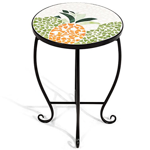 Side Accent Table Patio Plant Stand Porch Beach Theme Balcony Back Deck Pool Decor Metal Cobalt Glass Top Indoor Outdoor Coffee End Table (Sweet Pineapple) (Round Top Plant Stand)