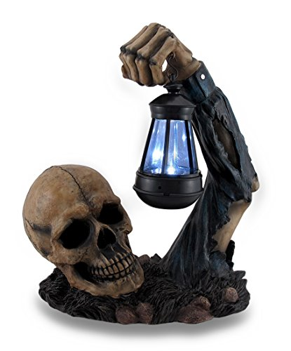 Resin Outdoor Figurine Lights Hh39829 Sinister Skull Holding Led Solar Lantern Outdoor Decoration 10.5 X 12.5 X 6 Inches -