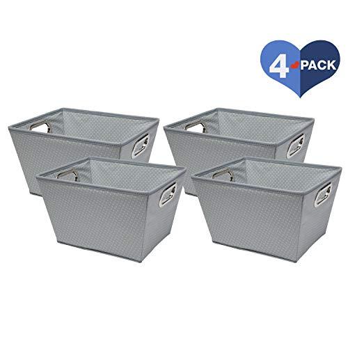 Delta Children 4 Piece Rectangle Storage Bins, Dove Grey