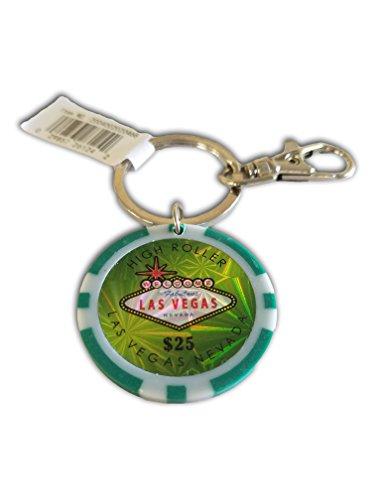 $25 LAS VEGAS POKER CHIP KEYCHAIN (GREEN)