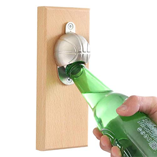 Luerme Wine Opener Automatic Bottle Opener Corkscrew Wine Bottle Opener Wooden Board Magnetic Refrigerator Cordless Bottle Opener Beer Basketball Football Cap for Home Bar