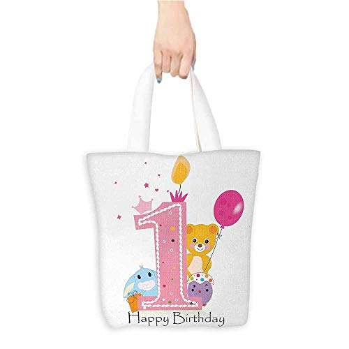 Reusable Shopping Grocery Bags,1st Birthday,Princess Girl and Party Cake with Candle Teddy Bear Toy Print,Fits in Pocket Waterproof & Lightweight,Pale Pink and Hot Pink (Teddy Pink Bear Candle)