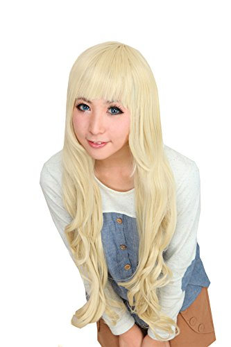 Icoser Anime Long Curly Cosplay Party Wigs for Women Blonde 80cm ()