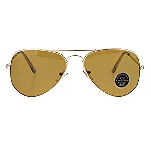 Mens Tempered Glass Lens Metal Wire Rim Classic Police Aviator Sunglasses Gold Brown