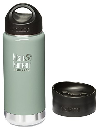 Klean Kanteen Wide Insulated Water Bottle with Stainless Loop Cap,16-Ounce,River Rock with Cafe Cap