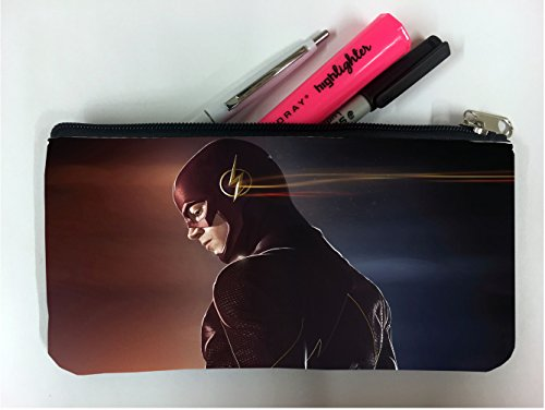 Pencils Flash - Comic Book Hero Red and Blue Background Student Pen Pencil Case Coin Purse Pouch Cosmetic Makeup Bag