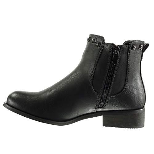 Mujer Moda Encaje Talón Plata Chelsea De Negro Tacón Ancho Botines Nodo Cm Zapatillas 3 Boots Plantilla Forrada Angkorly Piel xXq0145