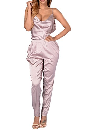 Rokiney Fashion Low Cut Backless Long Satin Rompers Jumpsuit for Women XL Pink