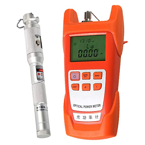 Prettyia 1Set Portable Optical Fiber Power Meter Tester Measure -70dBm~+10dBm + 20mW 15KM Visual Fault Locator Fiber Tester Detector Meter Pen Silver by Prettyia (Image #9)