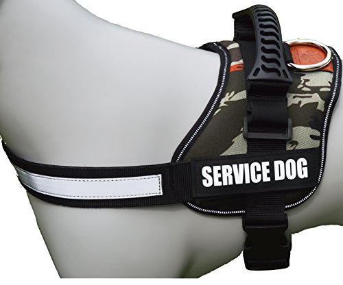 ALBCORP Reflective Camo Service Dog Vest Harness, Woven Nylon, Adjustable Service Animal Jacket, with 2 Hook and Loop Removable Patches, Medium, Green Camo by ALBCORP (Image #2)