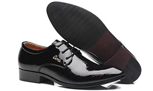 HYLM Zapatos del negocio de los hombres Zapatos de la boda Zapatos ocasionales Zapatos de la marea El nuevo color sólido del patrón Black