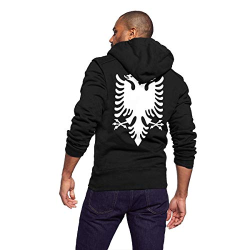 Unisex Adult Full Zip Long Sleeve Casual Hooded Sweatshirt Top, Mens Hoodies Pullover, Lightweight Thin Hooded Sweater, Albanian Flag Eagle
