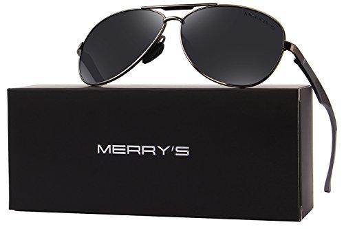 MERRYS Men Pilot Sunglasses HD Polarized For Unisex Driving Sun glasses S8228 Black&gray