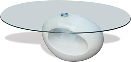 vidaXL Oval Coffee Table Nightstand Fiberglass High Gloss White Base Glass Top