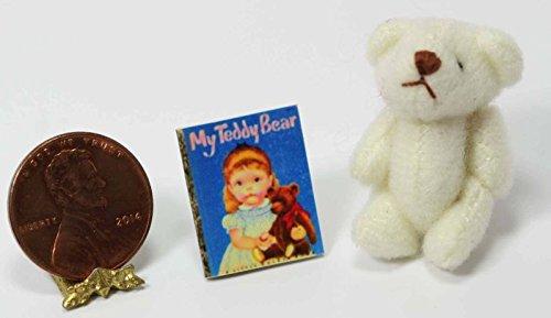Dollhouse Miniature My Teddy Bear Book by Cindi039;s Mini039;s and Adorable White Stuffed Teddy Bear Set from Dollhouse Miniature