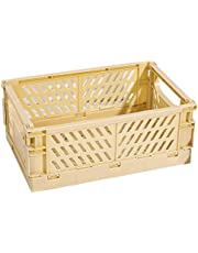 Andylies Collapsible Crate Plastic Folding Storage Box Basket Utility Cosmetic Container Yellow