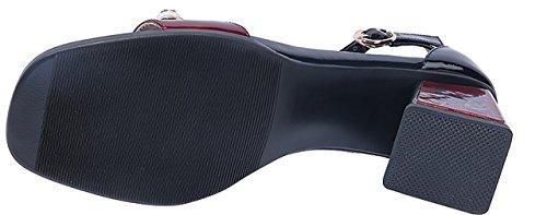 Calaier Women Catxao Pointed-Toe 7.5CM Block Heel Buckle Sandals Shoes Red zaTlWRZ