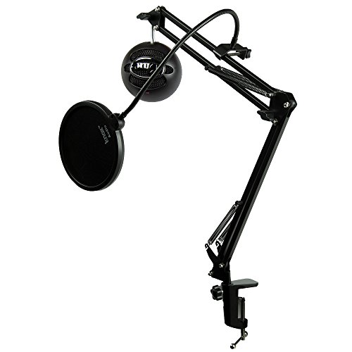 Blue Microphones Snowball iCE Black Microphone with Knox Studio Boom Arm & Pop (Best Knox Speaker Stands)
