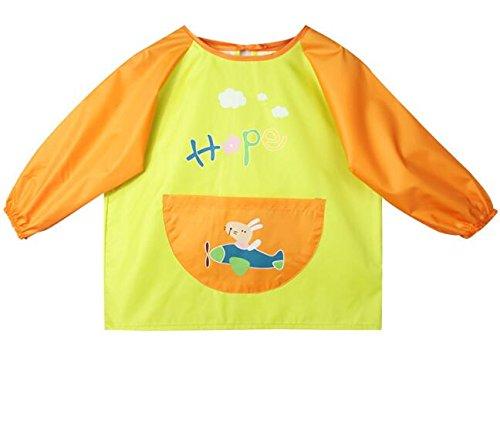EoamIk Useful Apron Baby Waterproof Aprons Bibs Art Painting Long Sleeves Bibs (Green)