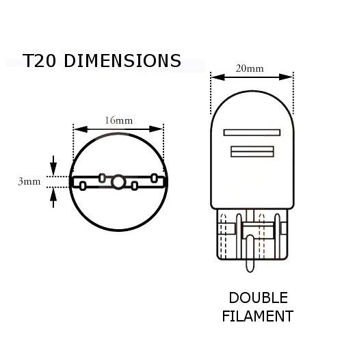 Lampadine con attacco W21//5W compatibili con attacchi di tipo 580 Lumro 7443 per luci di marcia diurna e luci di posizione laterali