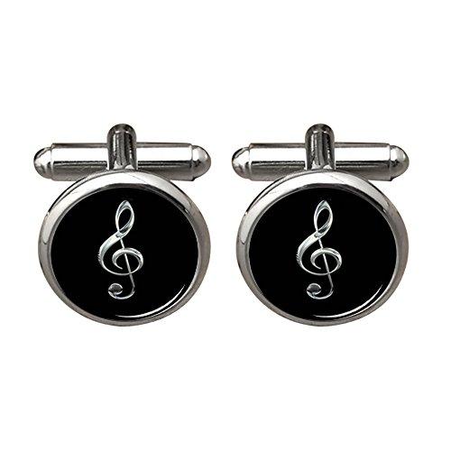 - ZUNON Treble Cufflinks & Tie Clip Music Note Instrument Musician Arts Gift for Men Husband Fiancee (Silver Cufflinks)