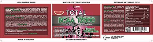 TBN Labs 8 2 2 Ratio Enriched Total BCAA 12000 is one of the most Bioactive BCAA Voted By NPC Bodybuilders. L-Leucine 8 L-Isoleucine 2 L-Valine 2 Best Use For EACH BOTTLE OF Total BCAA 12000 PERFORMANCE FUEL CONTAINS THREE HUNDRED SIXTY 360 GRAMS OF HIGH QUALITY BRANCH CHAIN AMINO ACIDS TO FEED YOUR MUSCLES. .. Tropical Watermelon