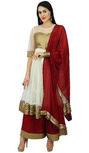 (Atasi Womens Partywear Net & Sequins Anarkali Salwaar Kameez with Palazzo Off White)