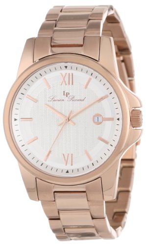 Lucien Piccard Men's 10048-RG-22S Breithorn Silver Textured Dial Rose Gold Ion-Plated Stainless Steel Watch