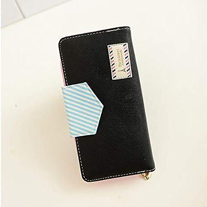 Women Purse Color : Blue Color : Black Eiffel Tower Twill Long Wallet Trend Multi-Card Zipper Wallet Korean Clutch