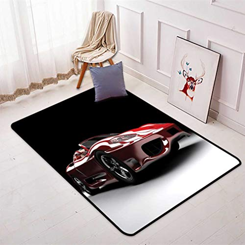 (Cars Area Rug, Automotive Industry Theme Powerful Engine Fast Technology Prestige Performance Sofa Mats Floor Rugs Carpet for Bedroom Living Room, 4' W x 6' L Red Black White)