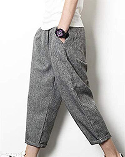 Casual Pantalon Élastique Nvfshreu Décontracté Baggy Pantacourt Style Sarouel De Simple Lin À Avec Grau Taille Cordon Plage wYfUUC4x
