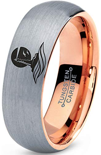 Zealot Jewelry Tungsten Lighthouse Tower Building Structure Light Band Ring 7mm Men Women Comfort Fit 18k Rose Gold Dome Brushed Gray Polished Size 7.5 (18k Lighthouse)