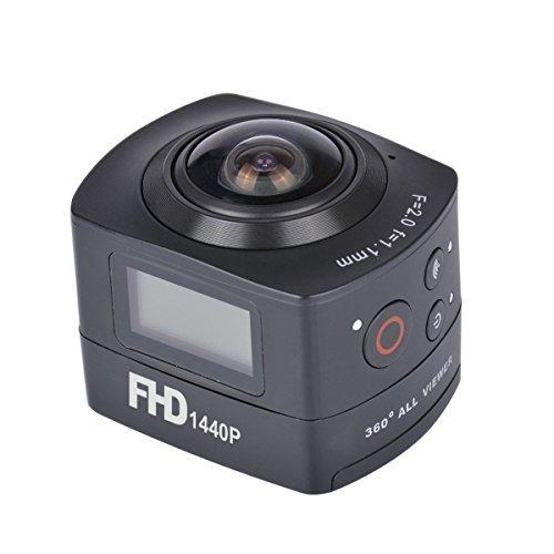 AMKOV 360 Degree Panoramic Fish-eye Camera 1440P HD Action Camera 8MP WIFI Remote Control Digital Camera Waterproof 30M Sports DV for Hiking,Biking,Diving