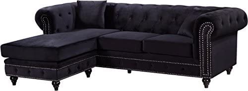 Meridian Furniture 667Black-Sectional Sabrina REVERSIBLE 2 Piece Button Tufted Velvet Sectional