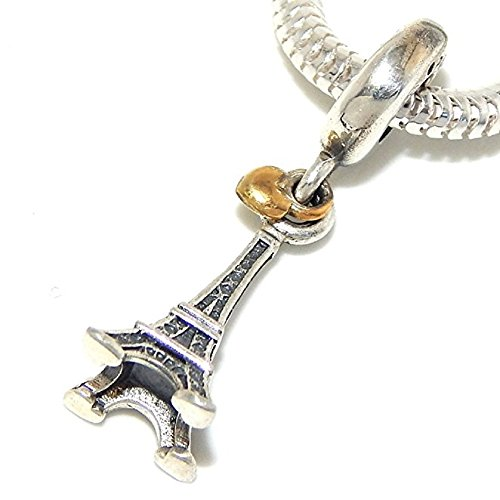 PJewelry 925 Solid Sterling Silver Dangling Eiffel Tower and Gold Tone Heart Charm Bead (Sterling Silver Tower)